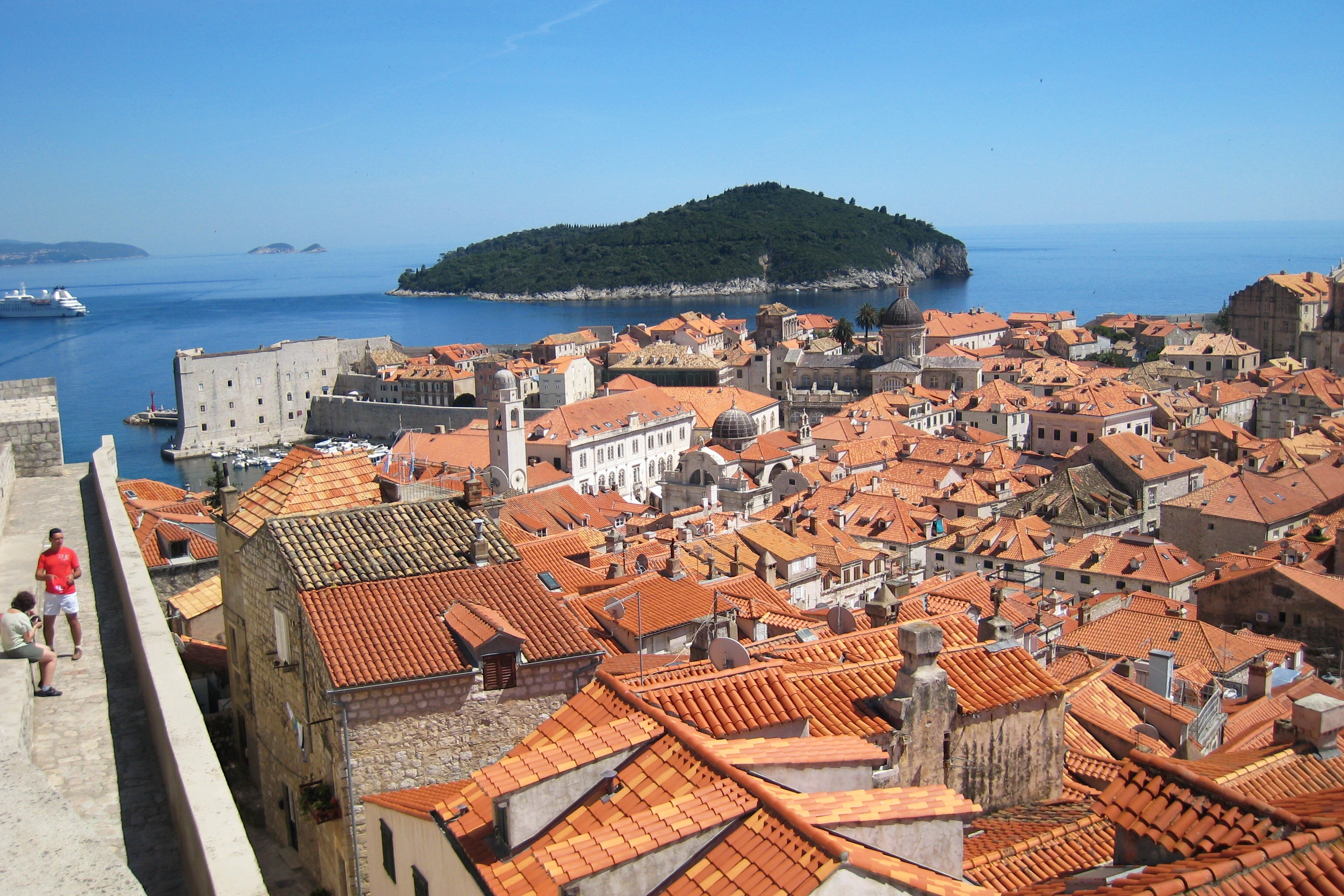 Walking on Dubrovnik's medieval city walls