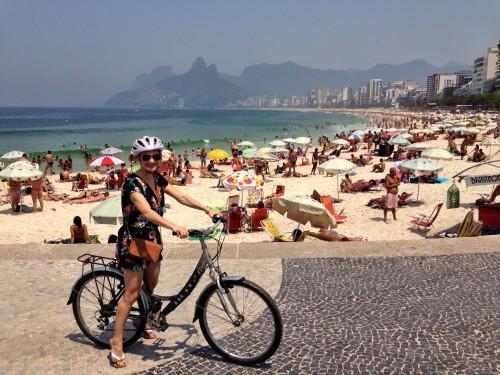 Bike riding along Ipanema Beach