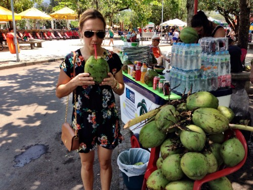 Cooling off with fresh coconut water after a fabulous 6 mile bike ride along Rio's beaches