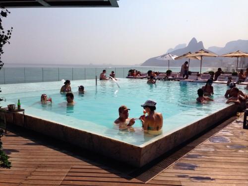 Fasano's piece-de-resistance - its fabulous rooftop pool overlooking Ipanema Beach