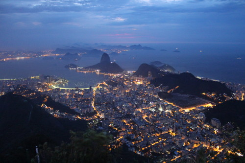 First light of day breaking over Rio and the iconic Sugarloaf