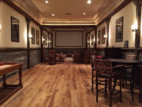 Movie room with shuffleboard and darts