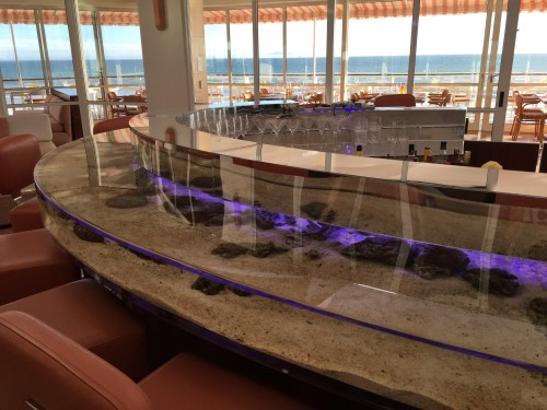 The brand new Coral Bar at the Coral Casino Club- there are literally fish swimming in it!!