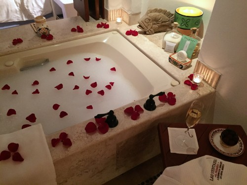 Lovely turndown with rose petal bath, truffles, and bubbly