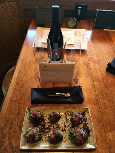 Ventana Inn's warm anniversary welcome for us!