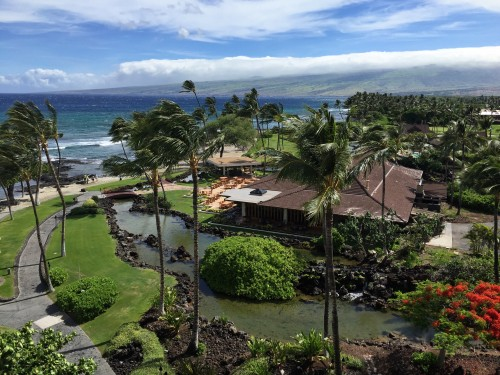 Mauna Lani Bay Hotel & Bungalows- view from our room overlooking the beach & Canoe House restaurant