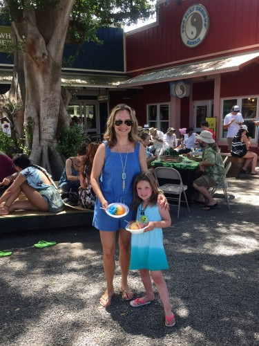 My girl and me enjoying our shave ice!