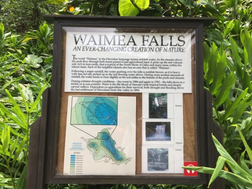 Waimea Valley- just off the main road (Kamehameha Highway) and then about a mile hike into the Falls