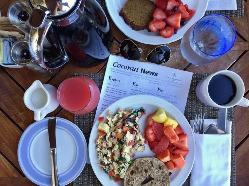 I love a great resort breakfast!! Four Seasons Nevis does not disappoint.. and I loved reading the Coconut News (aka what activities are going on that day)