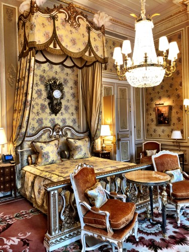 This decadent room is in the Imperial Suite, the room where Princess Diana stayed the night before her fatal car crash.